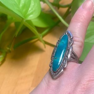 VINTAGE Sterling Marquise Turquoise Ring